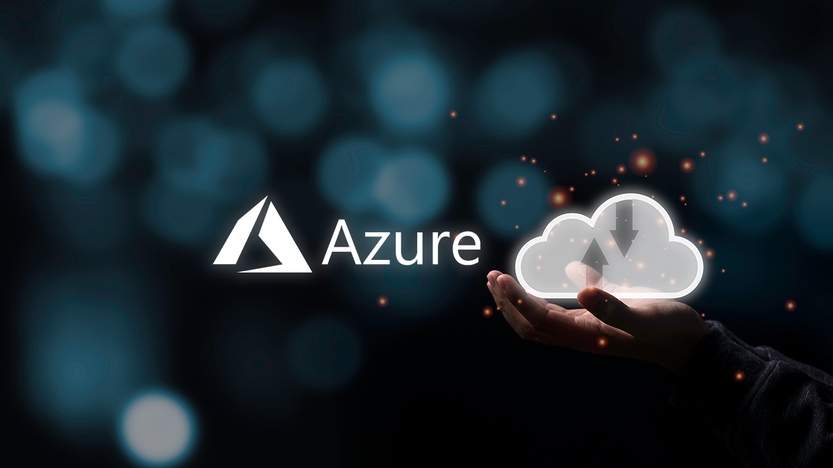 Microsoft Azure Logo with Two hand holding virtual cloud illustration icon with black background. Cloud technology system is computing sharing management for upload download transfer electronic information and application.